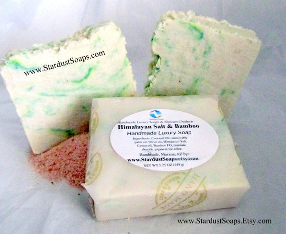 Himalayan Salt & Bamboo Bar Soap - Handmade in USA, Moisturizing, Mineral bar, lathers, cleansing bar, clean rinse, fresh scent of Bamboo
