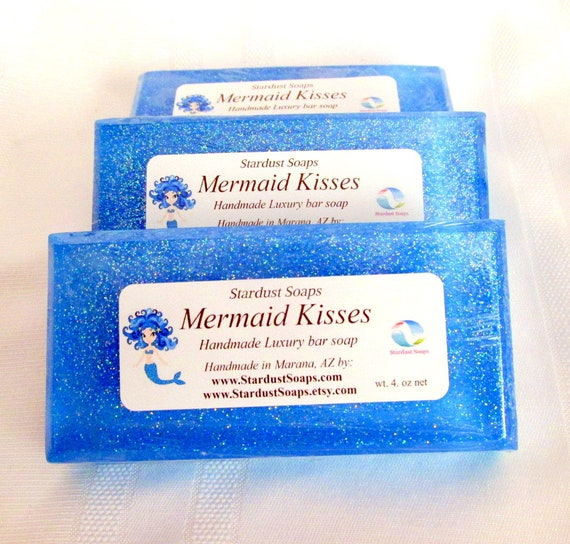 Mermaid Kisses Luxury Bar Soap, Handmade in USA, Aromatic, sparkle, selfcare, bath and body, lathers, clean rinse, all skin types