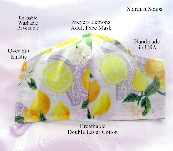 Meyers Lemon Adult Face Mask, handmade in USA, Reusable, Washable, Reversible, Face protection, Travel, Breathable Double Layer cotton,