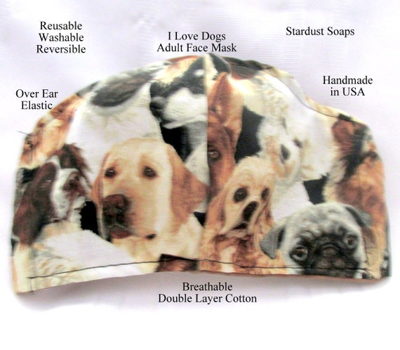 Made in USA, I love Dogs Adult Face Mask, Reusable, Washable, Reversible, Handmade, Breathable Double Layer Cotton, Face Protection, Trael
