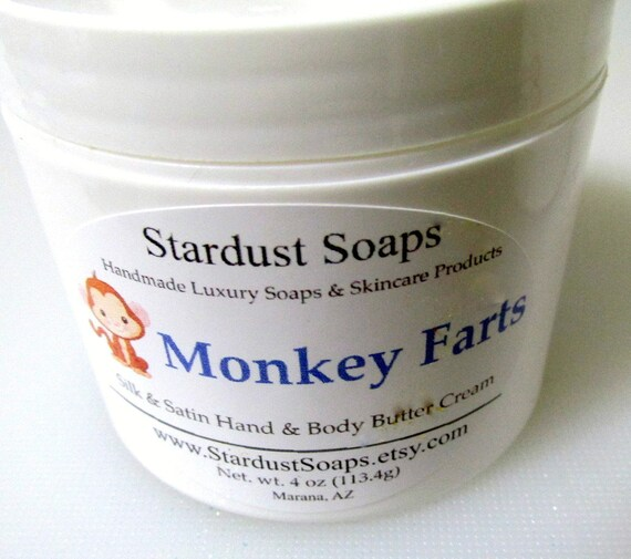 Free USA shipping Monkey Farts Jar Cream, handcrafted, moisturizing, silky, gift cream, self care, fruity, Christmas