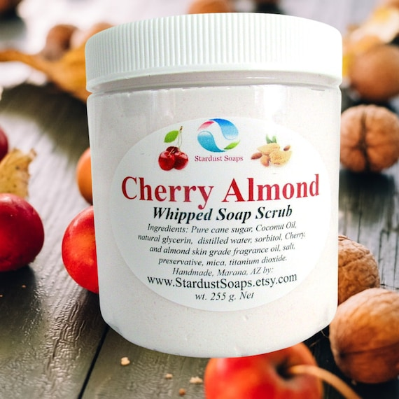 Cherry Almond, Whipped Soap Scrub, handmade in USA, creamy, exfoliates, clean rinse, lathers, personal skin care wt. 255 g. net