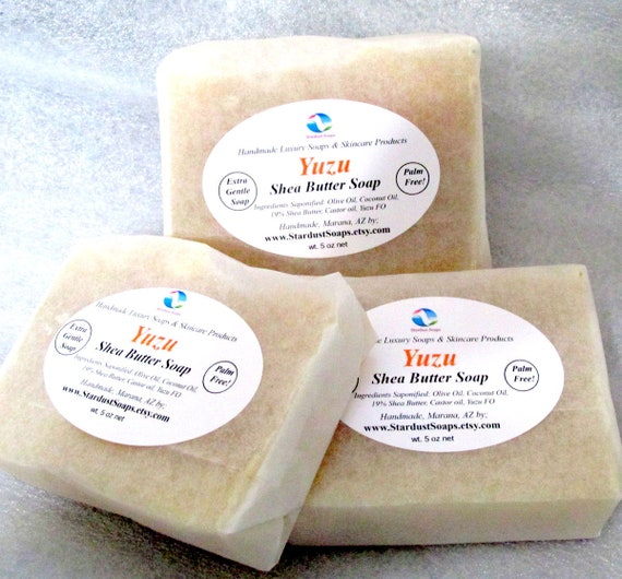 Yuzu Shea Butter Bar Soap (handmade, Palm free,moisturizing, creamy, extra gentle, individually packaged wt. 5 oz net) Stardust Soaps
