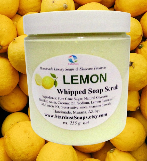 LEMON whipped soap scrub, rinses clean, lots of lather, natural exfoliation, moisturizing, aromatic, fresh, Jar soap, wt. 255 g.