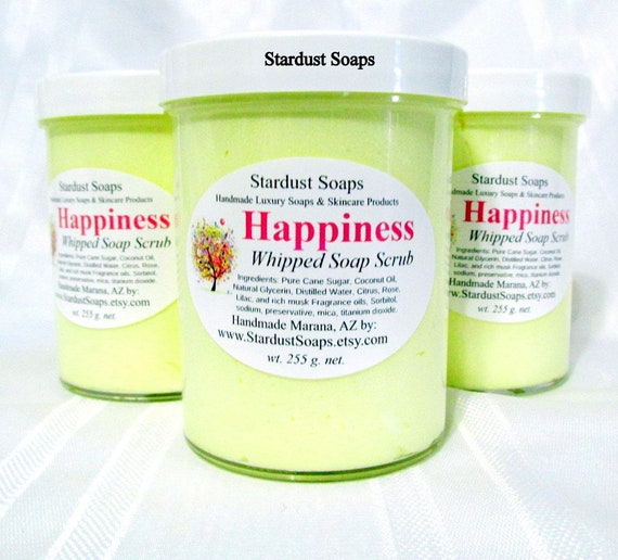 Happiness Whipped Soap Scrub, handmade in USA, cleanses, exfoliates, moisturizes, clean rinse, refreshing, nice gift soap wt. 255 g.