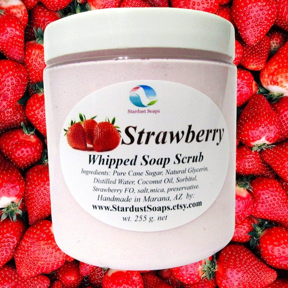 Strawberry Whipped soap scrub, handmade in USA, lathers, clean rinse, exfoliates, moisturizes, aromatic, fresh and clean