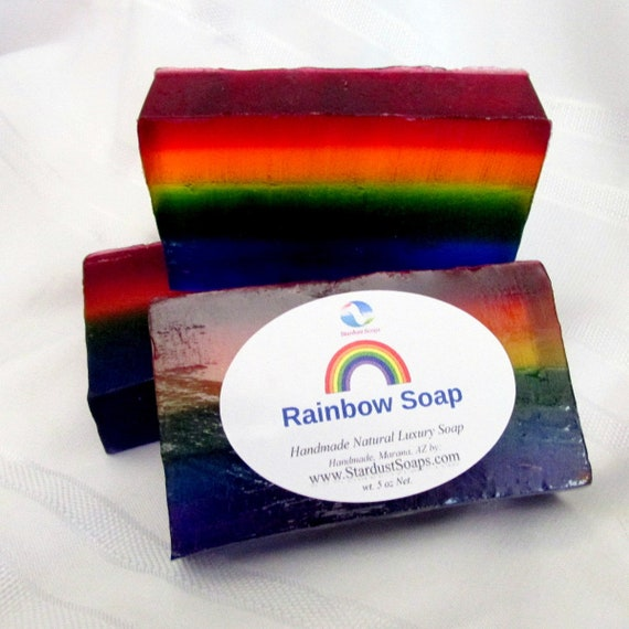 Rainbow soap, handmade natural glycerin soap, moisturizing, artisan soap, pride gift soap, self care soap, hydrating soap, all skin types