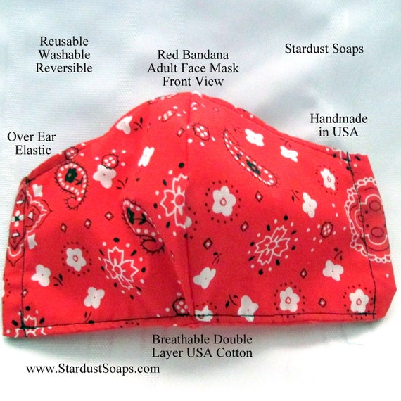 Red Bandanna Style Adult Face Mask, Handmade in USA, Reusable, Washable, Reversible, Breathable Double layer USA Cotton Face Mask, Travel