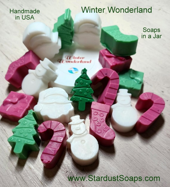 Winter Wonderland Soap Gift Set. Peppermint Scented Soaps, soaps in a jar.
