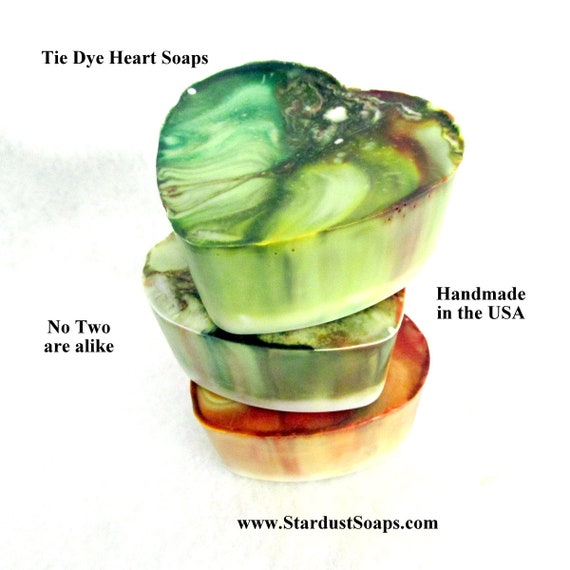 Tie Dye Heart Soaps, one of a kind, no two are alike, moisturizing, cleansing, fruit loops scent, clean rinse, wt. 3.8 oz. net