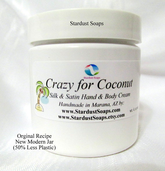 Crazy for Coconut lotion/cream, handmade in USA, moisturizing, silky, anti-aging, face and body cream, 4 oz