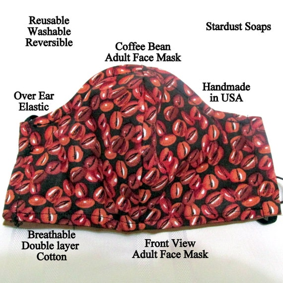 Made in USA, Coffee Bean Adult Face Mask, Reusable, Washable, Reversible, Double Layer Cotton, Breathable, Handmade, over ear elastic