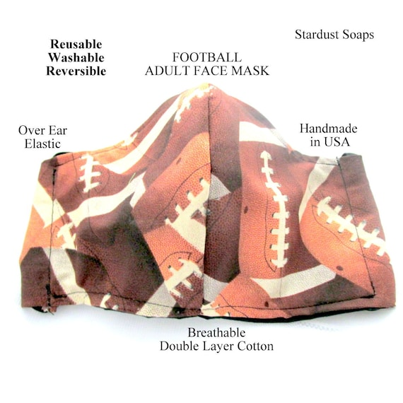FOOTBALL Adult Face Mask, Handmade in USA, Breathable Double Layer Cotton, Reusable, washable, reversible, gift mask. face protection