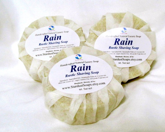 Rain - rustic Shaving Soap/shaving/moisturizing/deep cleanse/lathers/all skin types/self care/pH balanced/shaving soap/cleanse/