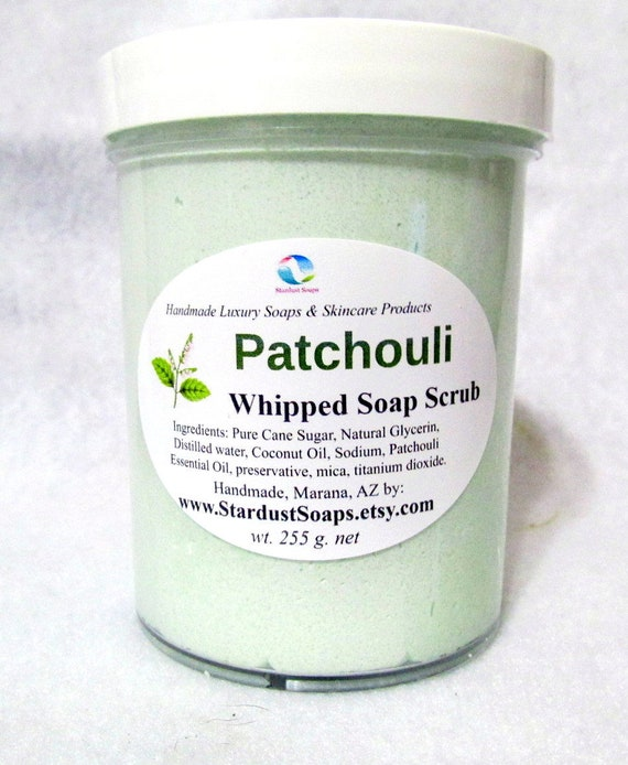 Patchouli Whipped Soap Scrub, Its a soap and scrub all in one, moisturizing, clean rinse, lathers, Fathers day wt.255 g.