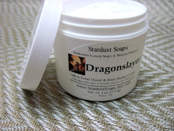 Free USA shipping Dragonslayer Hand and body cream (handmade, moisturizing, silk and satin, rich aroma, skin care) wt. 4 oz net cream