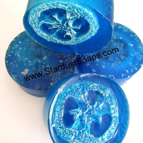 AQUA SPA Dead Sea Salt Loofah Soap - Handmade, Natural, exfoliates, Mineral soap, Gift soap, Spa soap, skin care,  personal care
