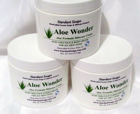 Free USA Shipping Aloe Wonder cream /homemade skin care, soothes sunburned skin, anti aging skin care, fragrance free, face and body