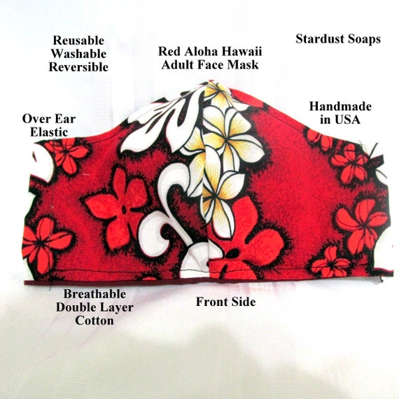 Made in USA, Red Aloha Hawaii, Adult Face Mask, Reusable, Washable, Reversible, Face protection, Travel,