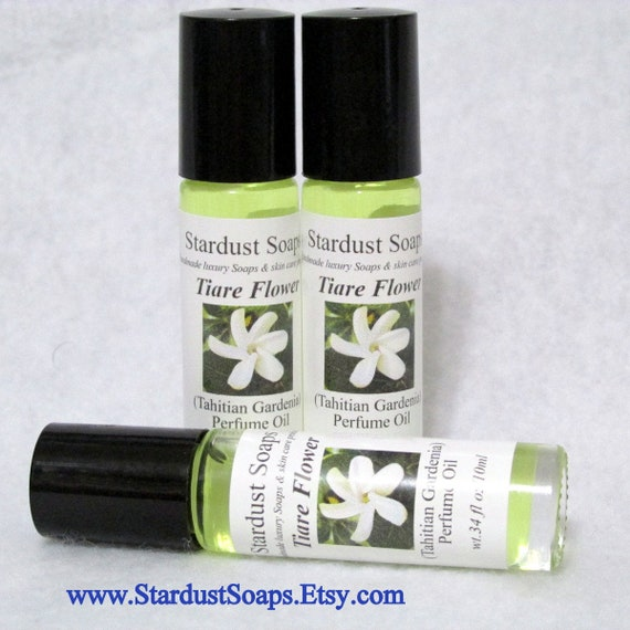 Tiare Flower Perfume Oil, (Tahitian Gardenia) Roll On Glass Bottle, aromatic, long lasting, exotic, 10 ml