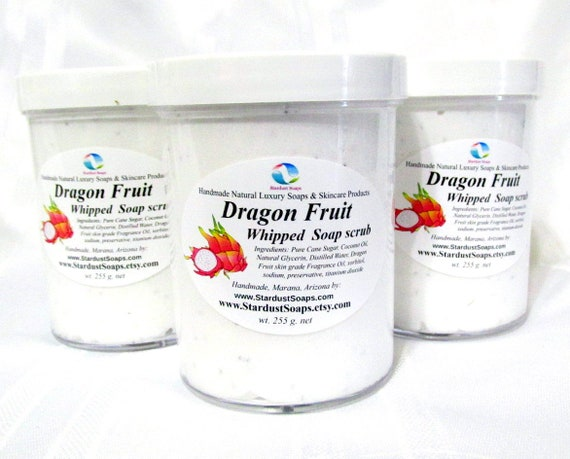 Dragon Fruit - Whipped Soap scrub - Handmade in USA, For hands, face and body, Clean, refreshing, lathers, natural ingredients, gift soap