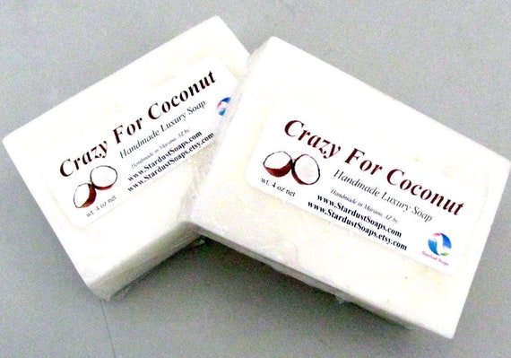 Crazy for Coconut Handmade Natural bar soap, moisturizing, cream, for all skin types, self care, gift soap, travel soap, wt. 4 oz