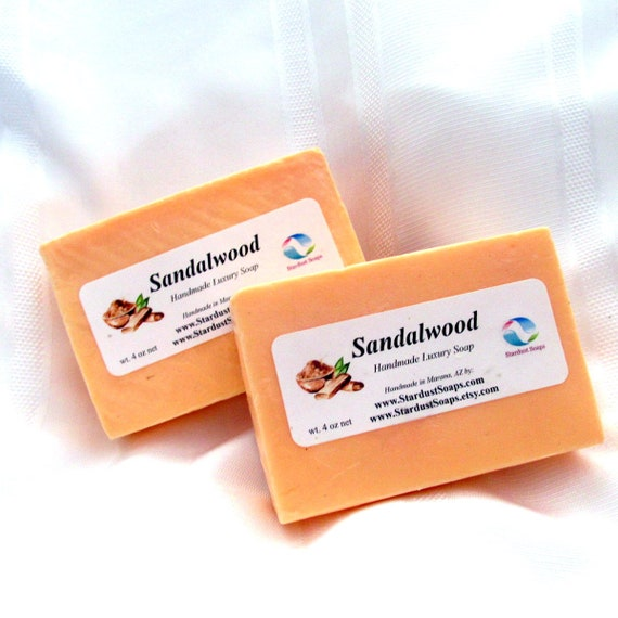 Sandalwood Natural Handmade in USA bar soap, moisturizing, cleansing, luxurious lather, face and body bar soap,