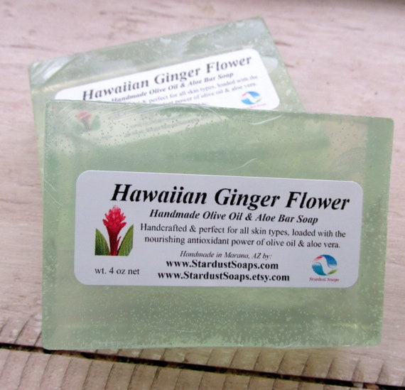 Hawaiian Ginger Flower Handmade Olive Oil and Aloe Bar soap, moisturizing, for all skin types, antioxidant, self care, personal care, gift