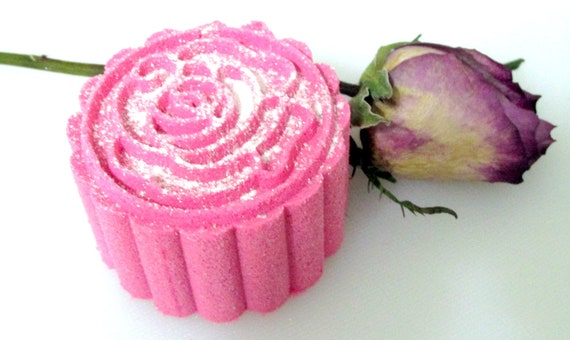 Deluxe Rose Bath Bomb Fizzy (Handmade, essential oil, moisturizing, floral, gift idea, pretty) wt. 92 g net (NO Cornstarch!)