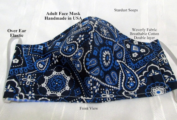 Made in USA,Adult Face Mask, Blue Bandanna Print, Double Layer Fabric, Breathable Cotton, Handmade, Reusable, Washable, Reversible