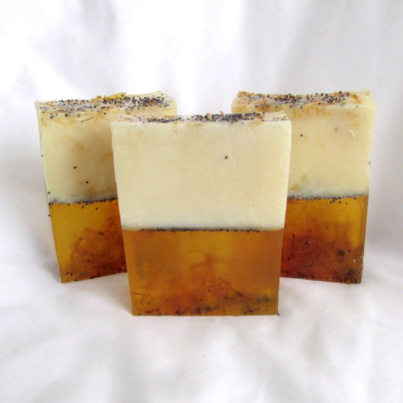 Botanical Lemongrass Bar Soap, handmade in USA, moisturizing, clean rinse, citrus soap, calendula soap, FALL Liquidation SALE