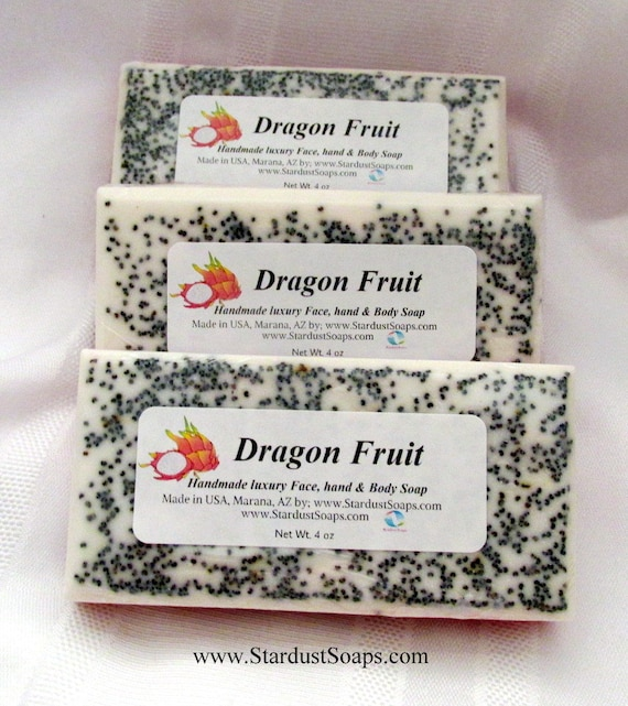 Dragon Fruit Bar Soap - Handmade in USA, Fresh, Clean, lathers, Bath and Body, refreshing, gift soap, clean, bar soap, wt. 4 oz per bar