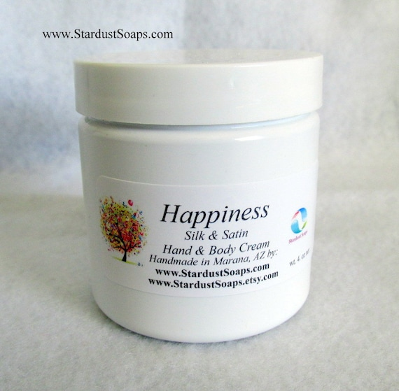 Happiness silk and satin Hand and body cream, self care, skin care, moisturizer, contains aloe, fresh scent, gift, handmade in USA wt. 4 oz