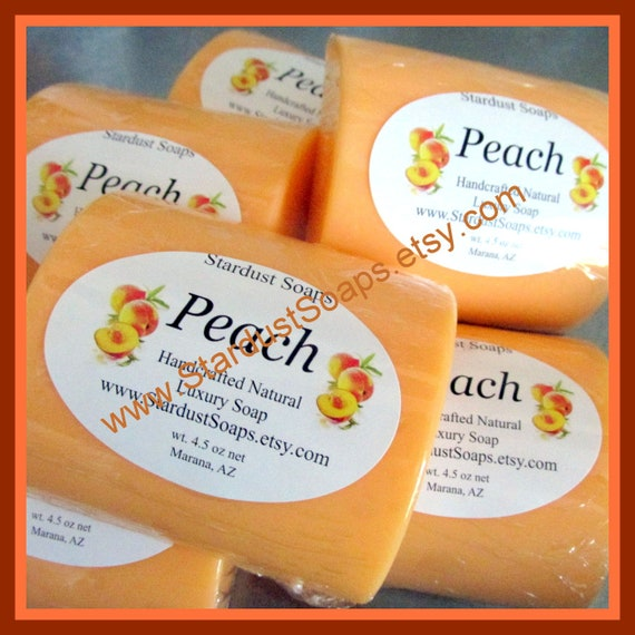 Peach Bar Soap, handmade in USA, moisturizing lather, all skin types, fruity soap, face and body soap, FALL Liquidation Sale