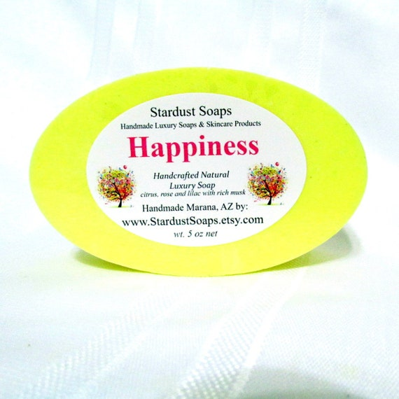 Happiness handmade bar soap, fresh, clean, lots of lather, coconut oil soap, clean rinse, moisturizing, gift soap, wt. 5 oz. net