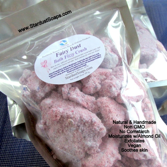 Fairy Dust Bath Fizzy Crush - Natural and handmade, exfoliates, moisturizes, birthday gift, self care, travel, Christmas gift, tub time