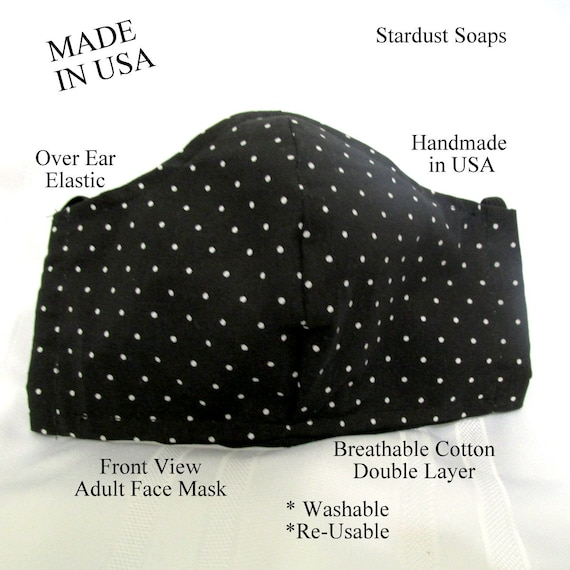 Polka Dot Adult Face Mask,Handmade in USA, Reusable, Washable, Reversible, Breathable, Double layer cotton, face protection