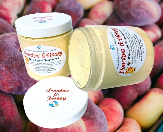Peaches and Honey whipped soap scrub, gentle exfoliation, clean rinse, moisturizing, aromatic, lathers wt. 255 g.
