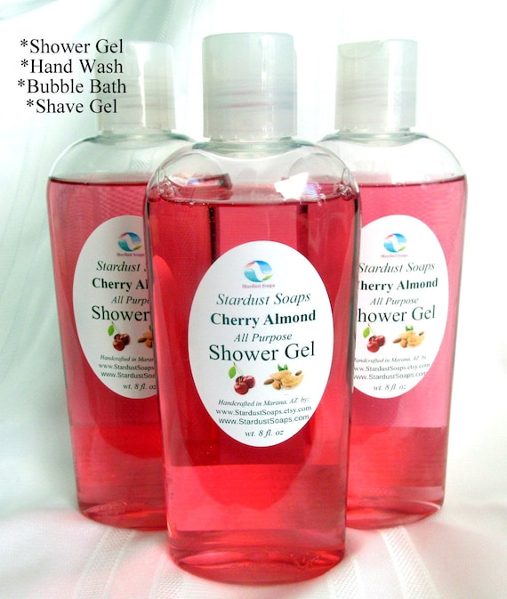 Cherry Almond Shower Gel - all purpose, shower, shave, body wash, lots of lather, moisturizing, clean rinse 8 oz bottle
