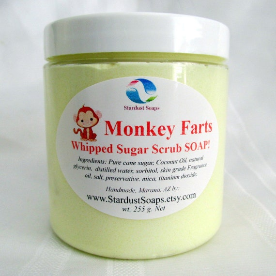 Monkey Farts  Whipped Soap Scrub and Body Polish /Handmade,  exfoliation, moisturizing, cleansing, aromatic, Free USA shipping item