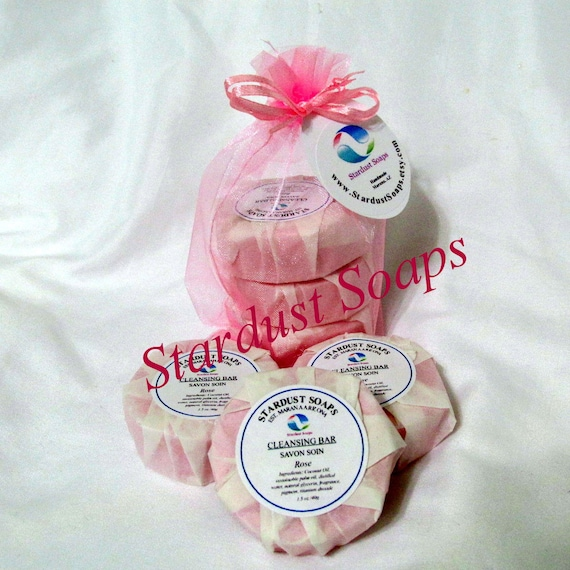 Free USA shipping ROSE Trio Soap Set/homemade and handmade luxury soap/moisturizing, cleansing artisan soap/gift soap/set of 3 soaps