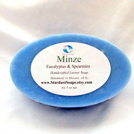 Minze (Eucalyptus & Spearmint) Handmade Luxury Soap (lots of lather, cleansing, moisturizes, aromatic, coconut oil, wt. 5 oz net)