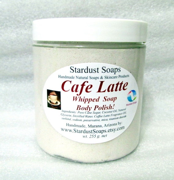 Cafe Latte Whipped Soap Scrub Body Polish - Handmade, aromatic, coffee, lathers, exfoliates, gift soap Free Shipping Domestic USA
