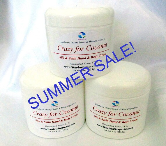 On SALE - Crazy for Coconut cream/homemade, luxurious moisturizing cream, for all skin types, eczema, soothes dry skin, tropical coconut