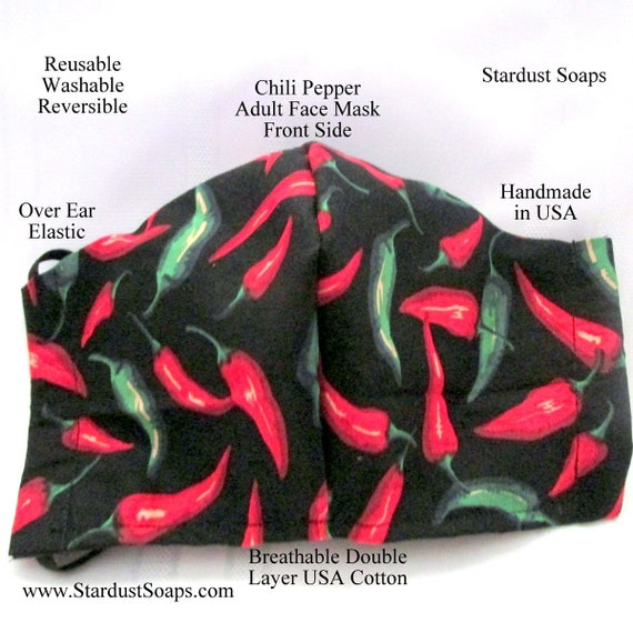 Chili Pepper Adult Face Mask, Handmade in USA, USA breathable Cotton, Double Layer, Reusable, Washable, Gift Mask,