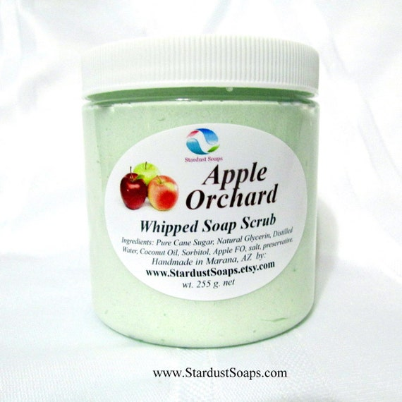 Apple Orchard Whipped Soap scrub, handmade in USA, lathers, exfoliates, moisturizing, aromatic, fresh clean rinse, gift soap