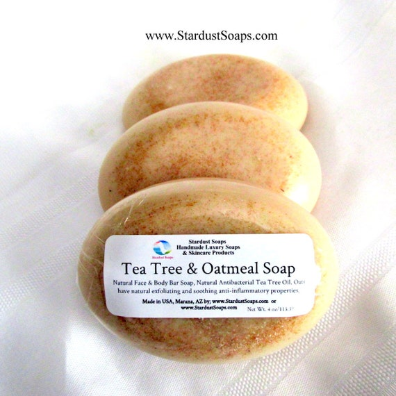 Tea Tree and Oatmeal Soap - Handmade, antibacterial, gentle exfoliation, Natural Oatmeal, face and body antibacterial bar soap