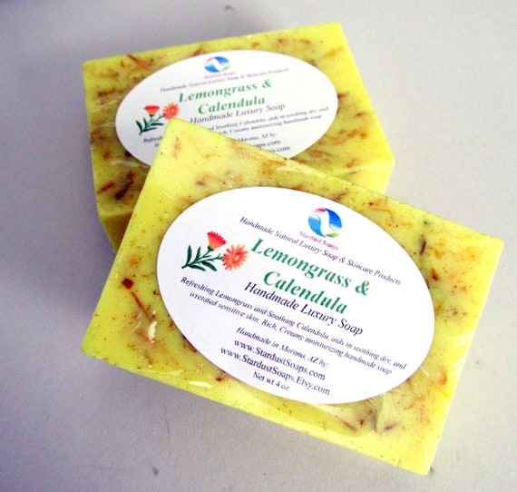 Lemongrass and Calendula bar soap, Handmade in USA - soothing to irritated skin, moisturizing, skin care, personal care, LIQUIDATION SALE