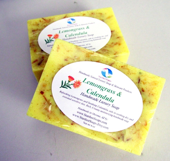 Lemongrass and Calendula Handmade Natural Soap - soothing to irritated skin, moisturizing, skin care, personal care, gift soap