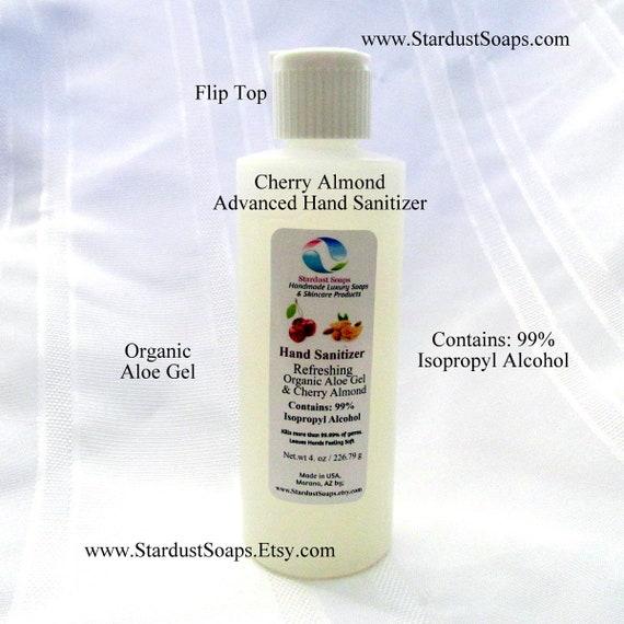Advanced Cherry Almond Hand Sanitizer, 99% Isopropyl Alcohol, Organic Aloe Gel, antimicrobial, kills most germs (4 oz) each